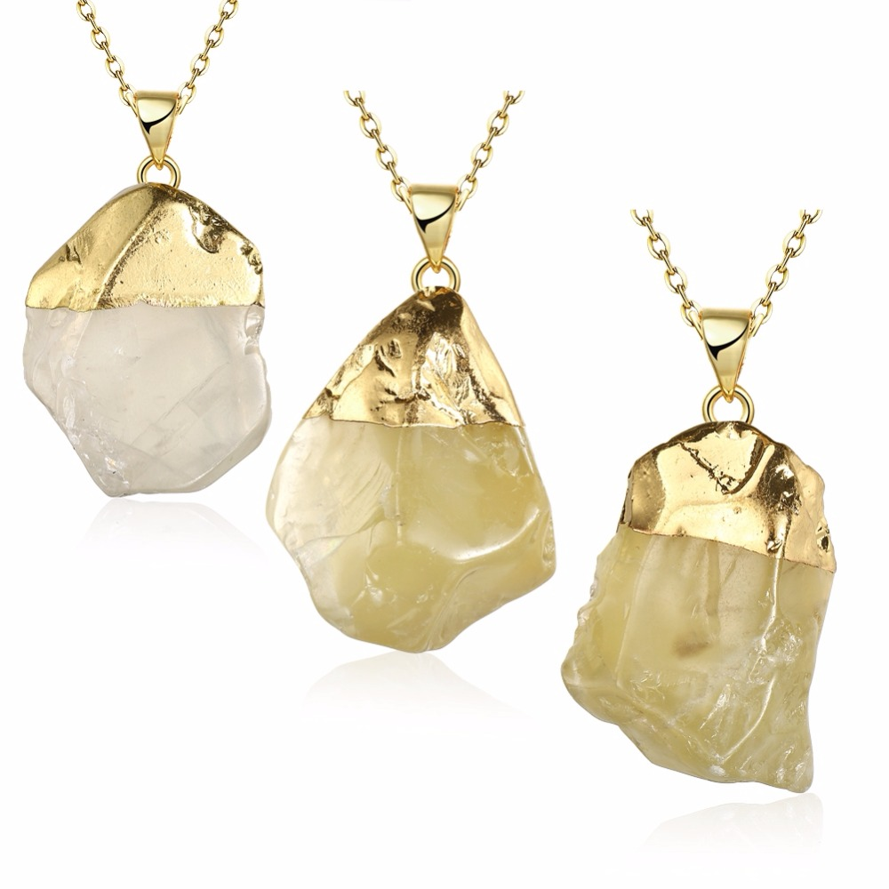 Natural Raw Rough Stone Gold Plated Cap Yellow Crystal Quartz Drop Pendant Neclace Jewelry