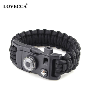 MF-01 Paracord bracelet survival kit with compass, firstarter, whistle with plastic buckle and with custom laser logo