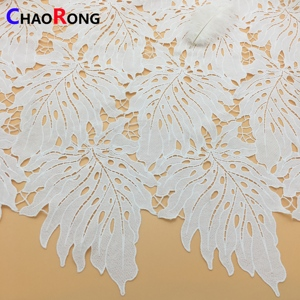 CRPY2447 eco-friendly leaf poly textile lace fabric chemical lace fabric