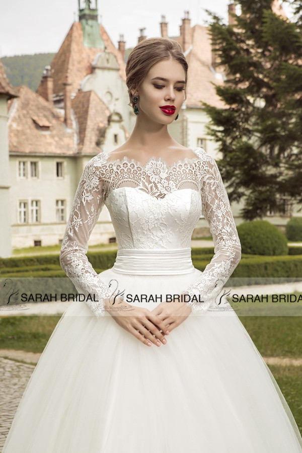 -Wedding-Dresses-Long-Sleeves-Off-Shoulder-Princess-Ball-Gown-Wedding ...