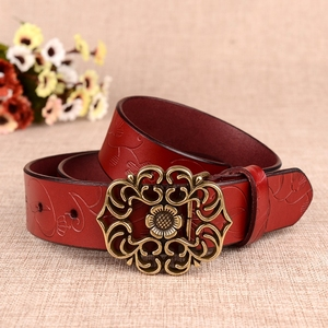 Retro Pattern Leather Belt Dress Jeans Waistband Waist Strap Women Belt