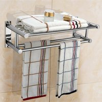 Hot sell Stainless Steel Plated Wall Mounted Bathroom Towel Double Shelf Storage Rail Holder Rack