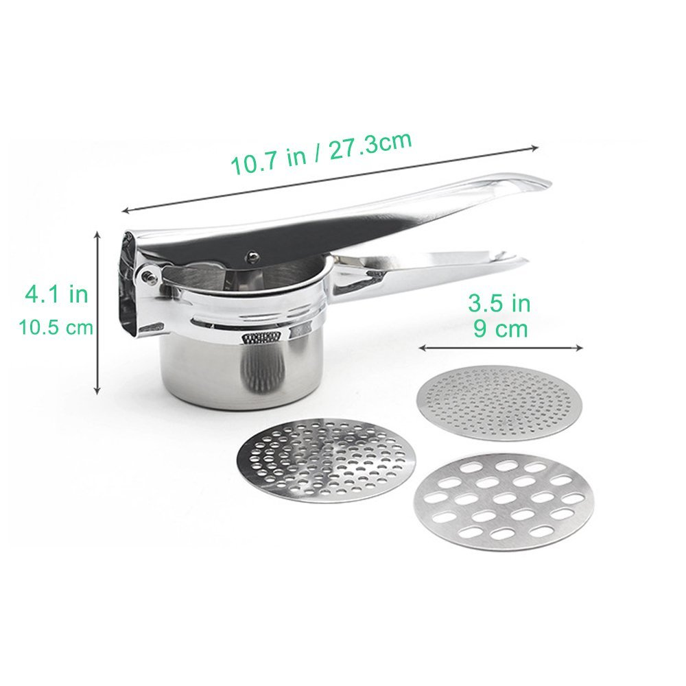 Stainless steel potato ricer With 3 Interchangeable Fineness