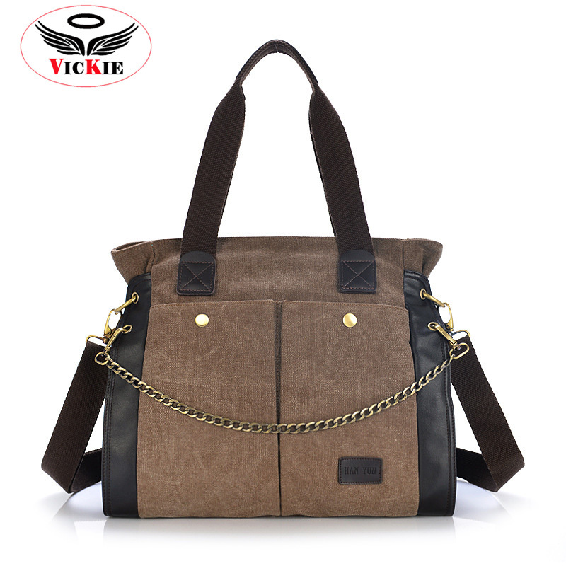 Get Quotations · 2015 Autumn Woman Canvas Handbag Chain Shoulder Bag For Women  Vintage Messenger Bags Panelled Brand Double 75facbc814aaa