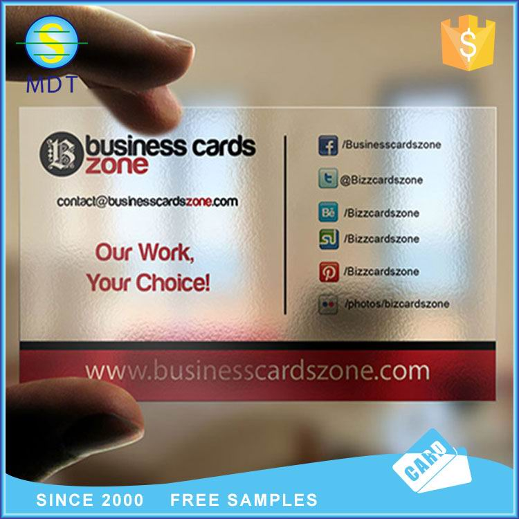 MDT O Transparent business card plastic clear card  promotion