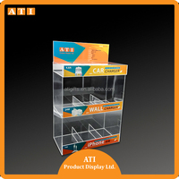 Custom Display Stands Cellphone Accessories Wholesale Acrylic Cell Phone Charger/Mobile Charger Display Case