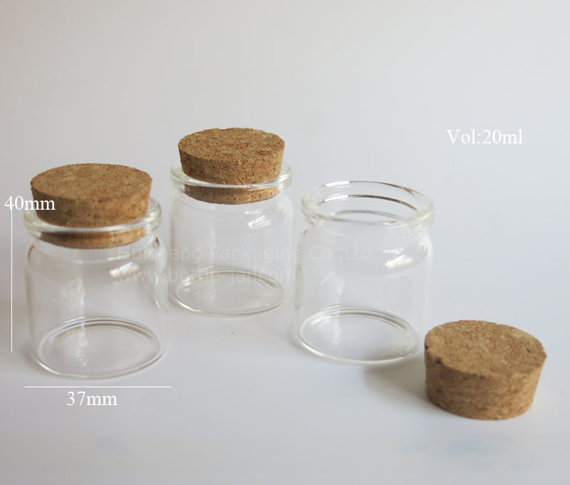 Free Sampls 20ml Clear Wide Mouth Borosilicate Glass Jar With Cork