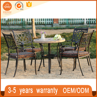 High quality 5pcs tile top bistro coffee table bronze cast aluminum tables and chairs outdoor garden antique furniture