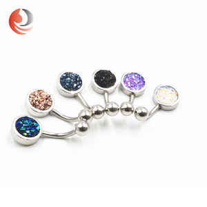 ZhiRen popular colorful stone new navel piercing, navel belly ring, navel button ring