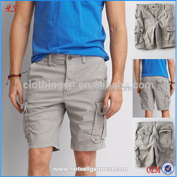 Simple Fashion Style Men Cargo Shorts With 6 Pocket Grey Relaxed Thru Leg Mens Cargo Short Pants