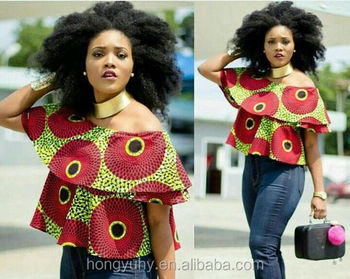 fe0ace737c9476 ky083 off shoulder elastic shoulder ankara top for women African african  fabric top for women apparel