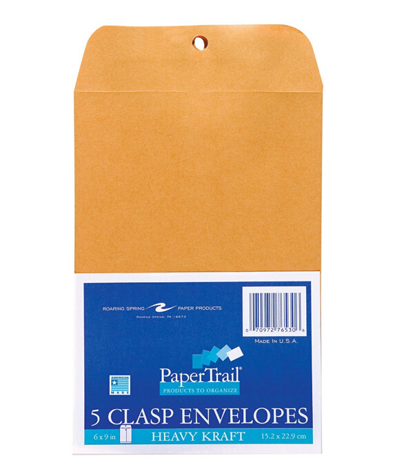 "Clasp Envelopes. 6 ""x 9"", 5/pack, marrom kraft material, Cola-aba Gomada"
