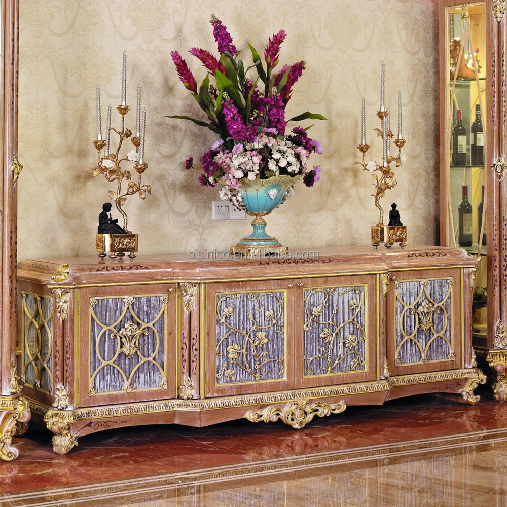 French new classic dining room living room tv stand Luxury wood furniture