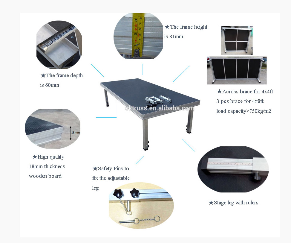 TUV and CE approval strong Portable stage,concert stage,outdoor concert mobile stage sale