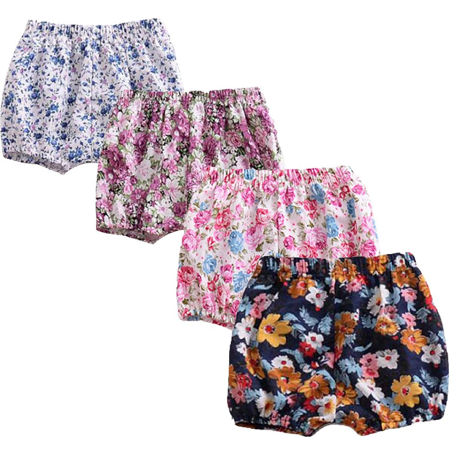 626f5afda76 Get Quotations · LOOLY Girls  Toddler 4-Pack Shorts Baby Girls Floral  Bloomers Shorts