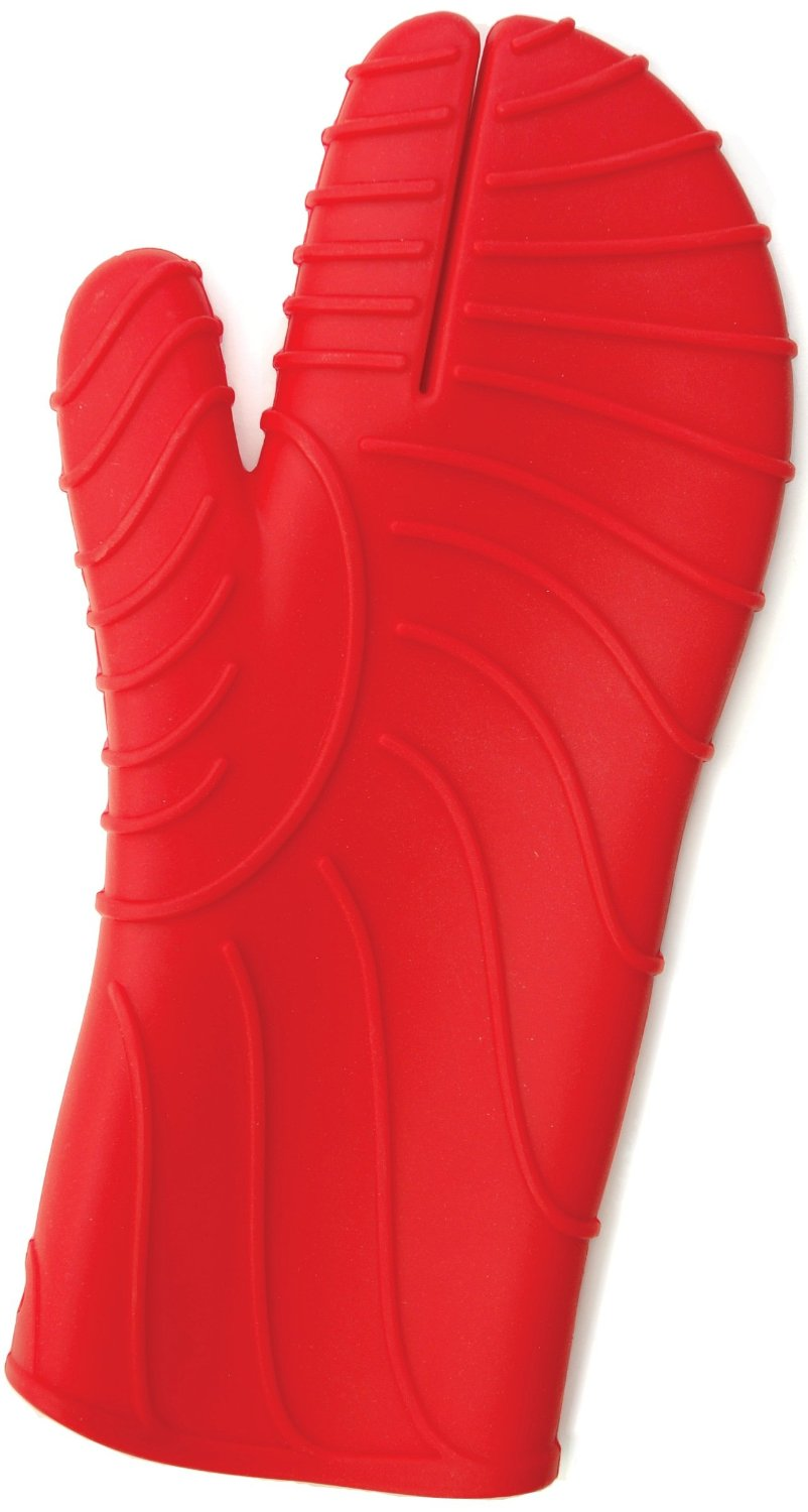 Charcoal Companion Red Silicone Barbecue or Oven Mitt