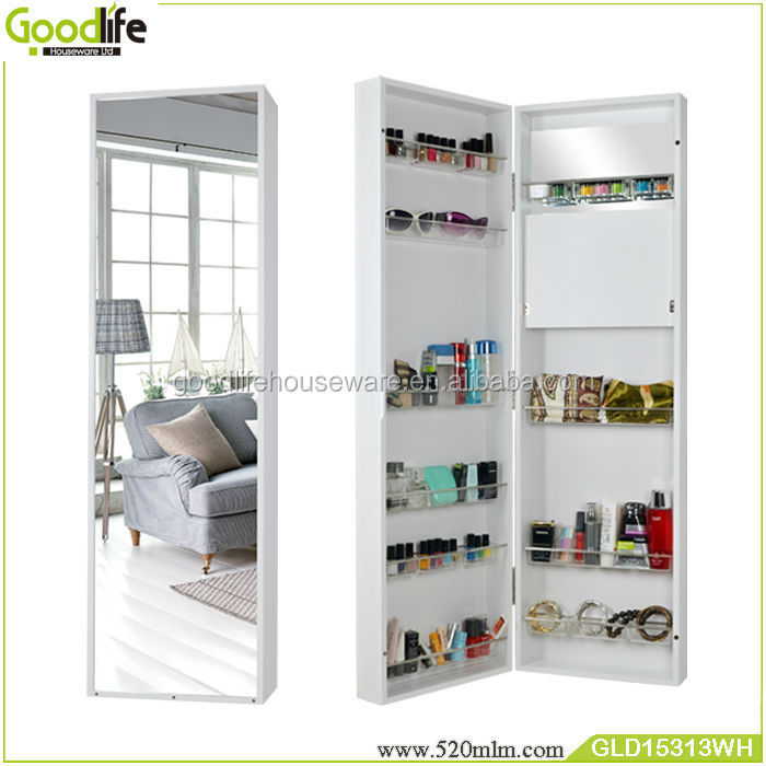 Wooden Makeup Cabinet Furniture Free Standing Mirror Jewelry Armoire