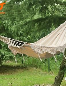 BO SWIFT Outdoor? New 100% Cotton Thickening Canvas outdoor 2 Person Portable Tassel Hammock White Fringe Hammock