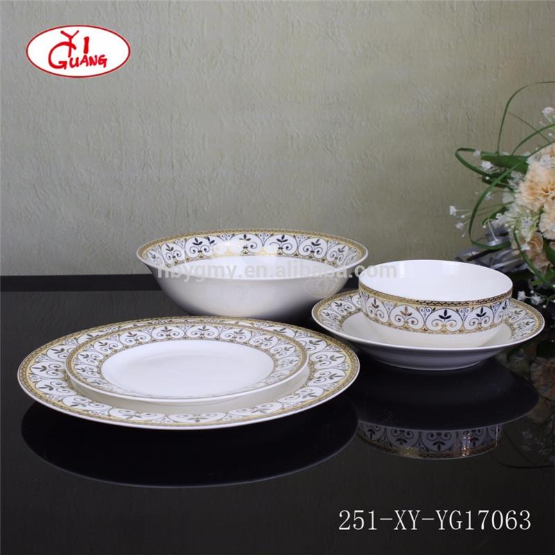 Luxury design cat dinnerware set with gold classic decal YGG17205 YG17205