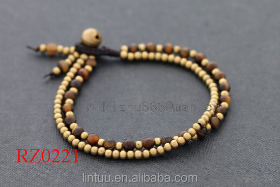 RZ0221 Unique brass bell Bracelet Wholesale tiger eye Stone Beads digital bracelets For Men and women