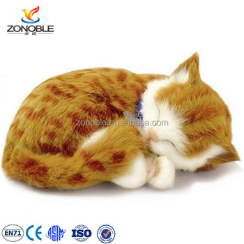 Lovely Children Animal Toy Cuddly Sleeping Cat Soft Stuffed Tabby