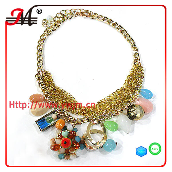 New high quality chain wholesale vintage/antique lots resin beads bib necklaces choker jewelry