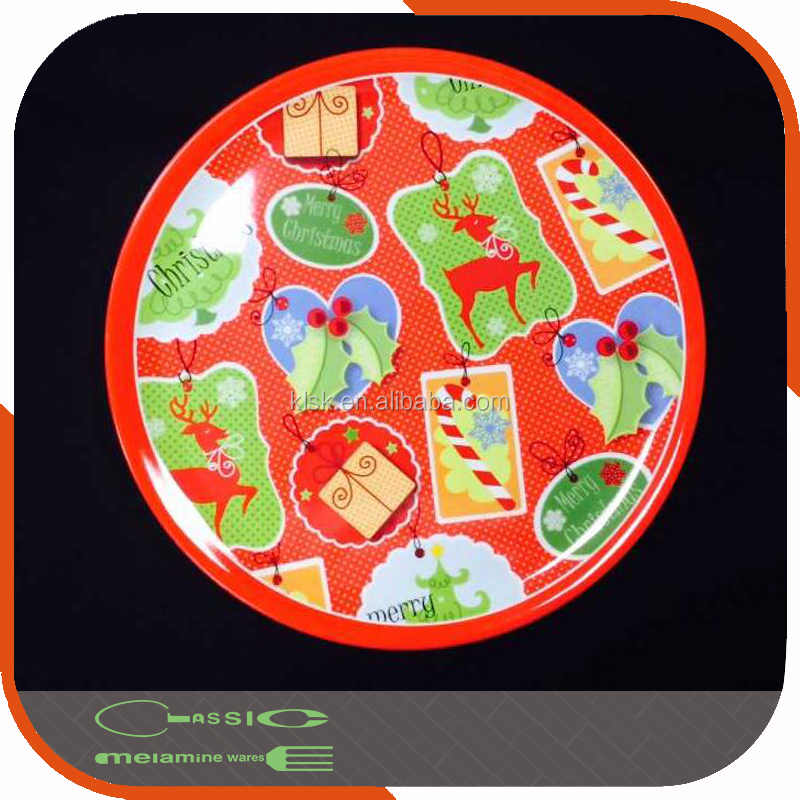 Round Printed 100% Melamine 12 inch Plastic Plate