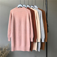 Hot sale middle high neck loose women side split super soft middle long knitted woman sweater