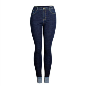 New model fashion women skinny rolled edge stretch denim jeans pants