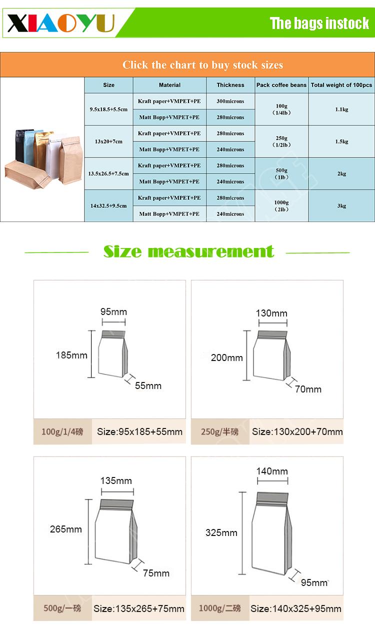 Importados डे चीन impresas personalizada aluminizado plastico fondo plano bolsas पैरा empacar कैफे चोर Valvula Desgasificadora