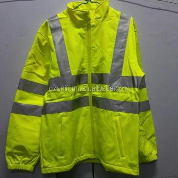 cd5f41b6a9e Hombre ropa de invierno-Vis Soft-Shell amarillo chaqueta de trabajo con cintas  reflectantes
