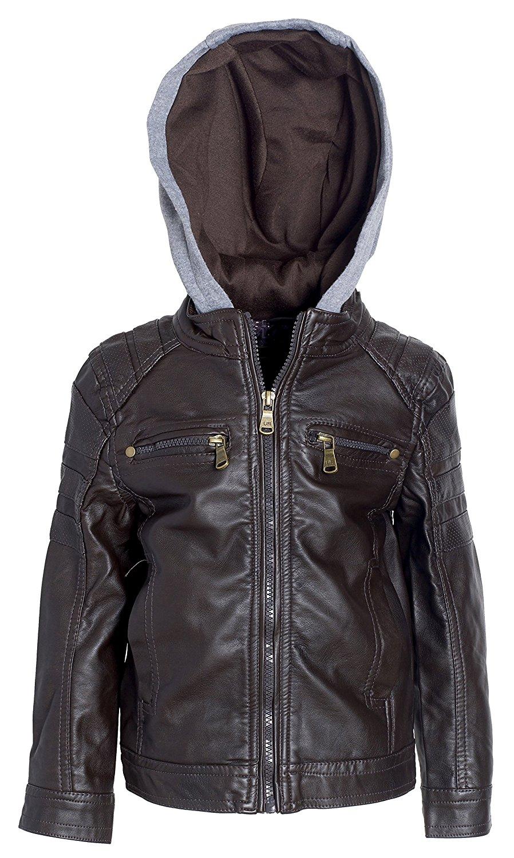 53fe4fcdc6649 Get Quotations · Urban Republic Todder & Big Boys Faux Leather Moto Biker  Jacket with Fleece Hood - Dark