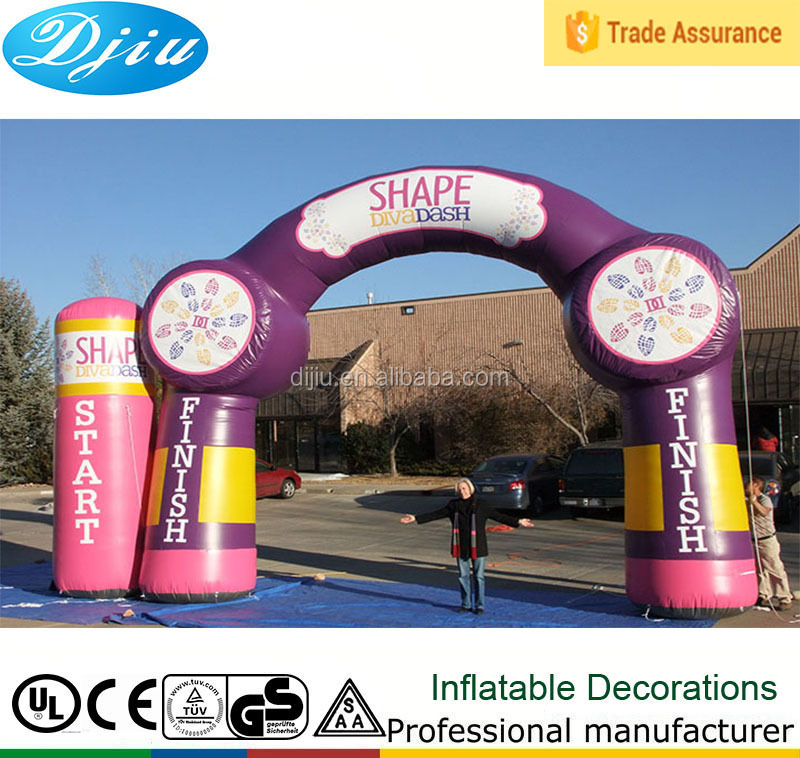 Best quality fast delivery start & finish line arch printed shape diva dash inflatable archway