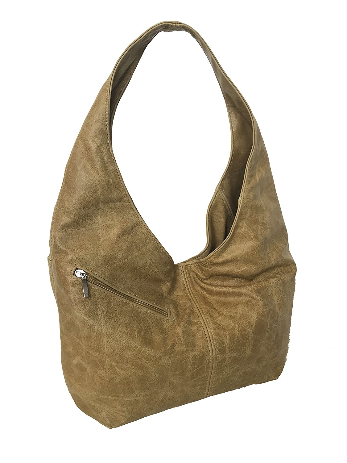 b37f13e046ed Get Quotations · Fgalaze Distressed Camel Leather Hobo Bag w Pockets