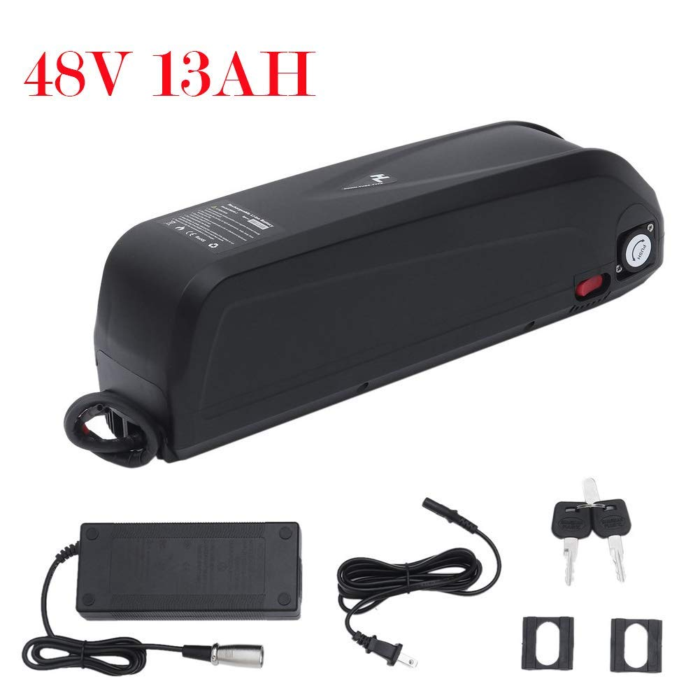 CATUO Electric Bicycle Battery, Superior 48 Volt 13 AH E-Bike Rechargeable Battery with Charger for 1000W Motor Bike - Electric Bike Conversion Kit - Output DC 54.6V 2.0A - 36 x 11 x 8cm