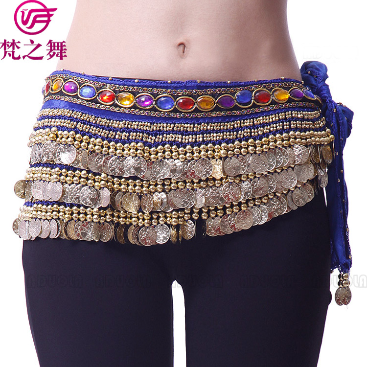 Y-2002 Fashion ladies 248 coins and 338 coins velvet belly dance hip scarf belt with bead