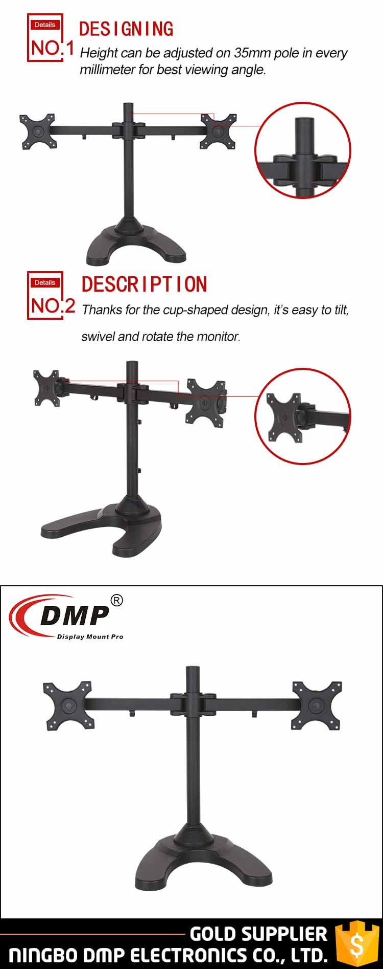 "Heavy Duty Mechanical Durable Clamp Desktop Stand 2 Lcd Monitor Arm Dual Monitor Stand For 13-27"" LCD LED Monitors"