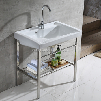 Porcelain Laundry Tub With Stainless Steel Stand Ceramic Bathroom Cabinet  Countertop Basin With Washboard For Wash