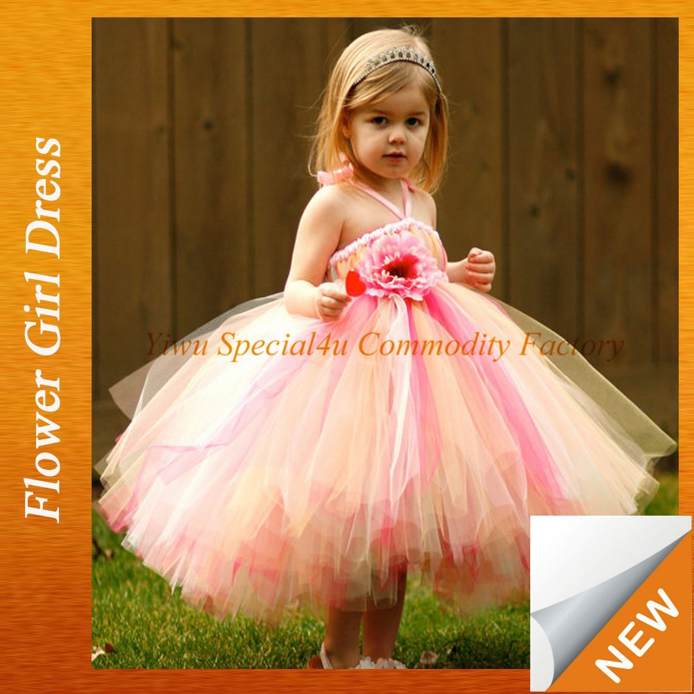 2015 New Arrival Chiifon Tutu Dress Girls Dresses Baby TUTU rose floral Party long dress for kids Lyd-989