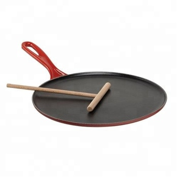 Enamel Cast Iron Round Tortilla Pan Crepe Pancake Pan/ Plate induction With Wood Spatula Batter Spreader