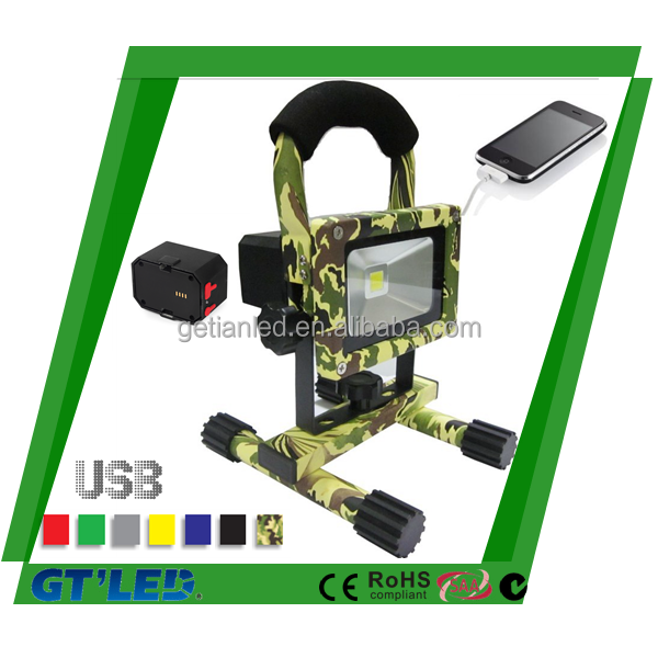 20w Rechargeable LED Flood Light with Dimming Function SAA CE RoHS Approved Colourful Housing