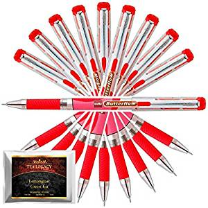 Cello Butterflow Red Pen Smooth Fine Writing 0.6 mm Tip + TeaLegacy Free Sampler (10 Ball Point Pens) Exam Series Write Long Time In School & College Low Pressure High Volume Elastic Grip