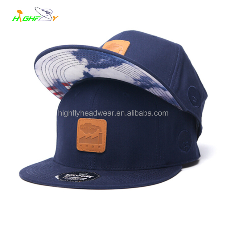 under brim sublimation printed snapback cap with leather patch, navy cotton snap back hat