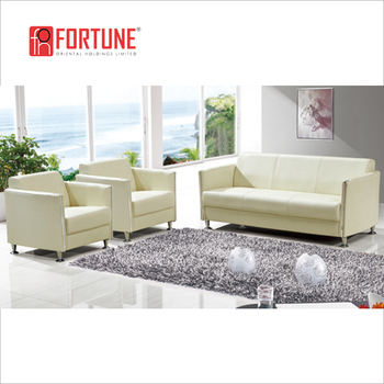 Dubai Cream Color 3 Seaters Settee Leather Boss Office Sofa Set