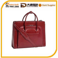 Practical & stylish sleek contoured design leather ladies' briefcase with removable high-density laptop sleeve