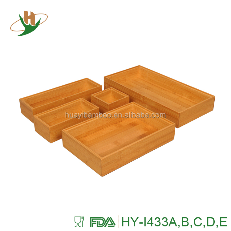 Decorative drawer organizer set custom bamboo stackable storage box