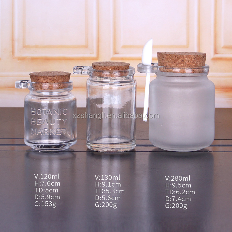 100ml 250ml glass jar for pudding jelly with wood spoon