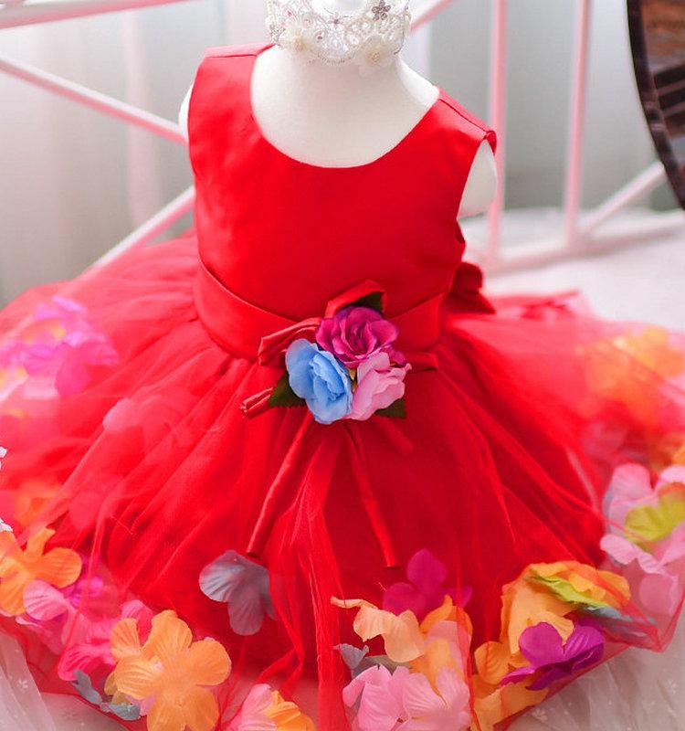 2016 Fashion Dress Baby Clothes Wholesale Flower Petal Chiffon Red ...