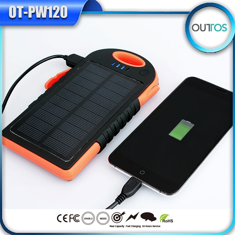 Hot selling 10000mah solar power bank with dual USB outputs