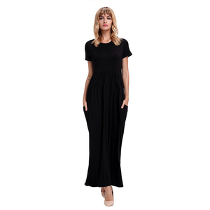 New Fashion Women O-Neck Short Sleeve Solid Color Pencil Maxi Dresses